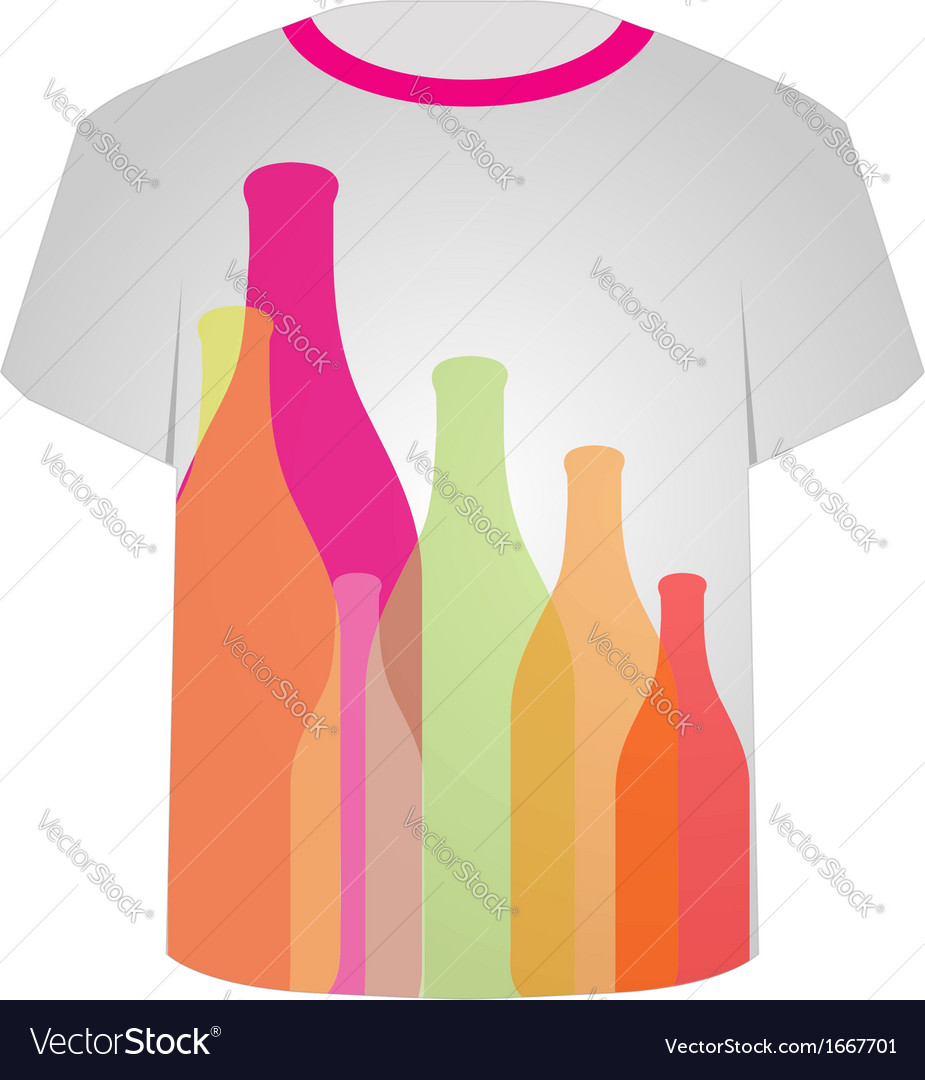 T shirt template- colorful bottles vector | Price: 1 Credit (USD $1)