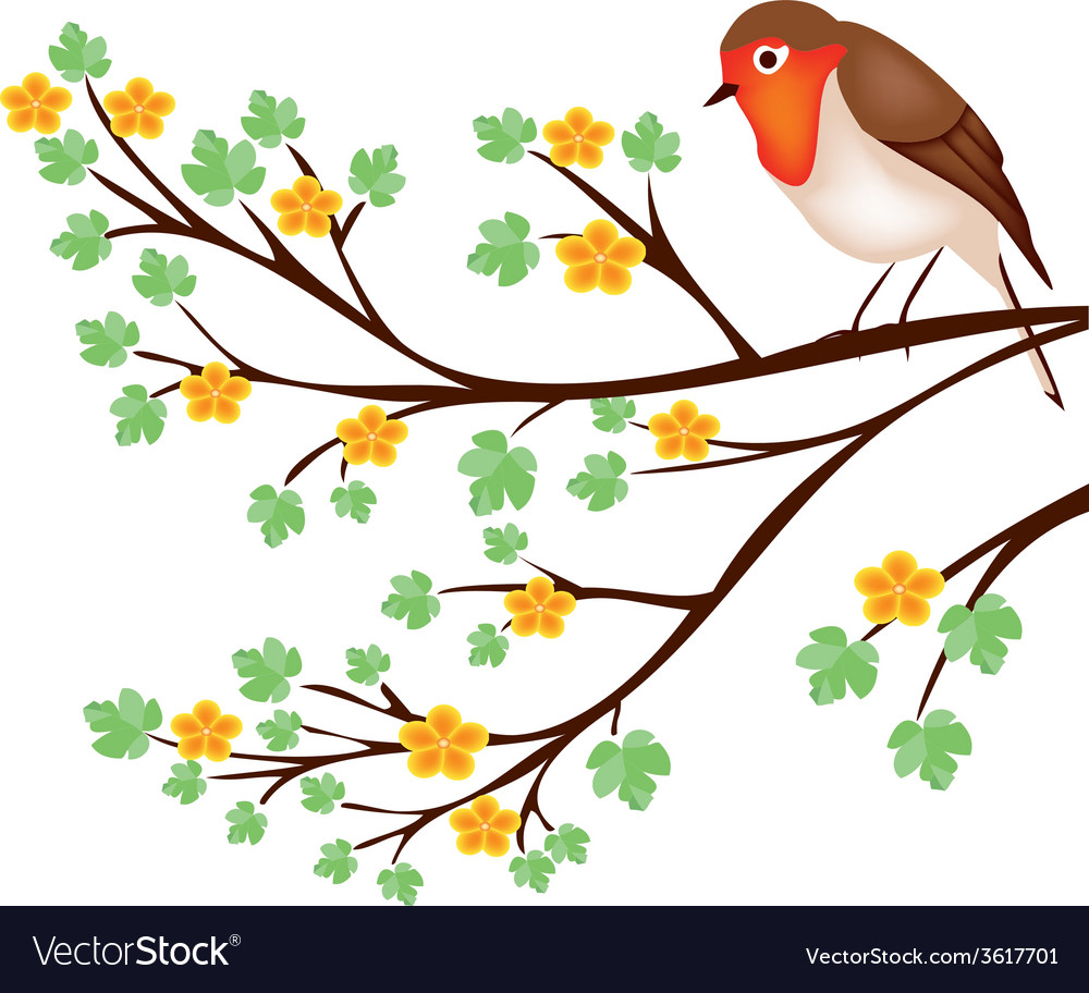 Tree branch with a robin vector | Price: 1 Credit (USD $1)