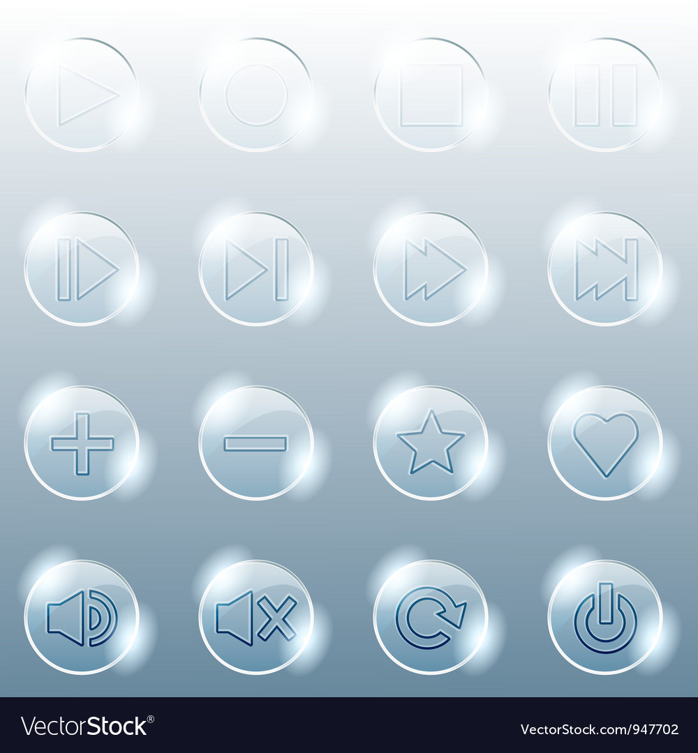 Basic set of transparent glass buttons vector   Price: 1 Credit (USD $1)