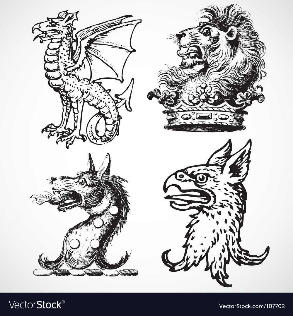 Beast head ornaments vector | Price: 1 Credit (USD $1)