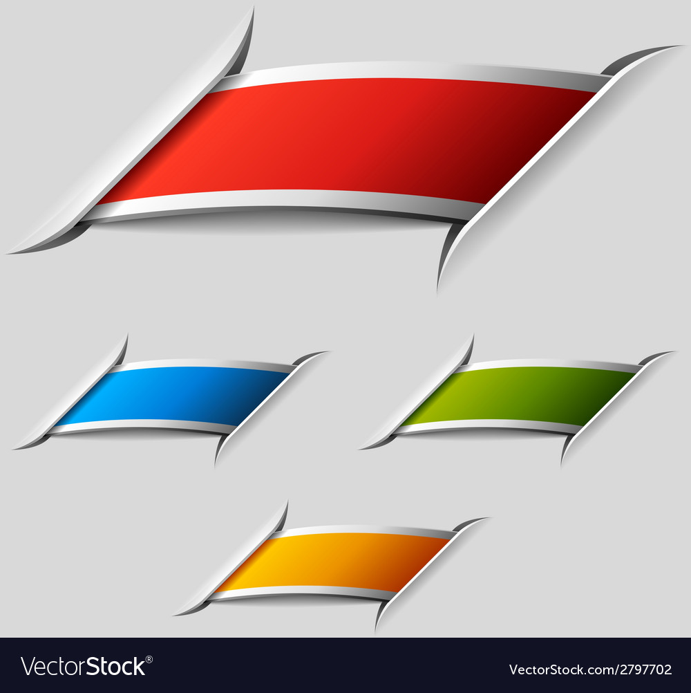 Blank attached ribbon labels vector | Price: 1 Credit (USD $1)