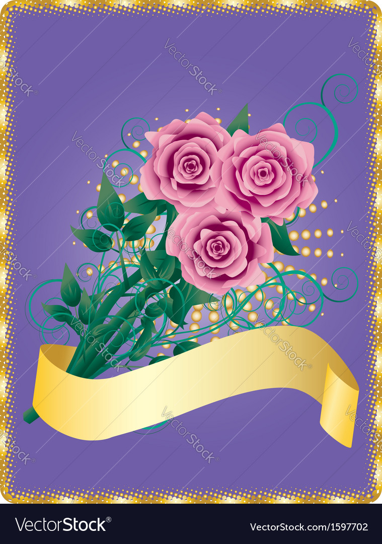 Card with pink roses vector | Price: 1 Credit (USD $1)