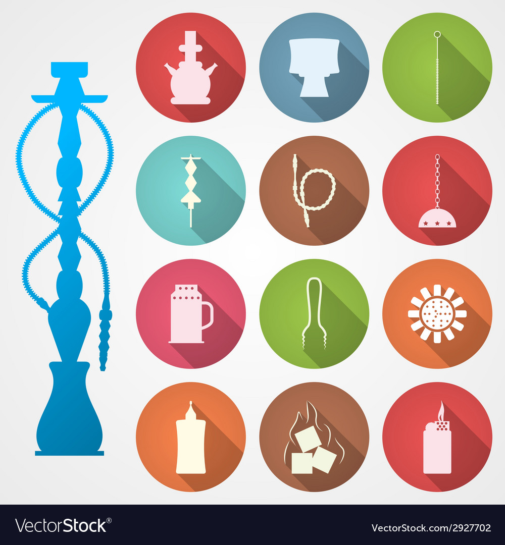 Colored icons for hookah and accessories vector | Price: 1 Credit (USD $1)