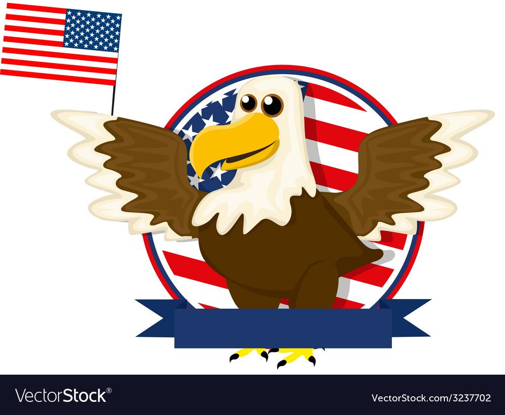 Cute cartoon american bald eagle vector | Price: 1 Credit (USD $1)