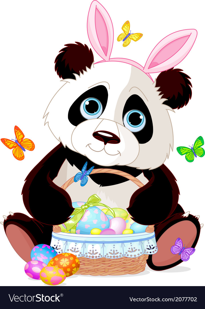 Cute panda with easter basket vector | Price: 1 Credit (USD $1)