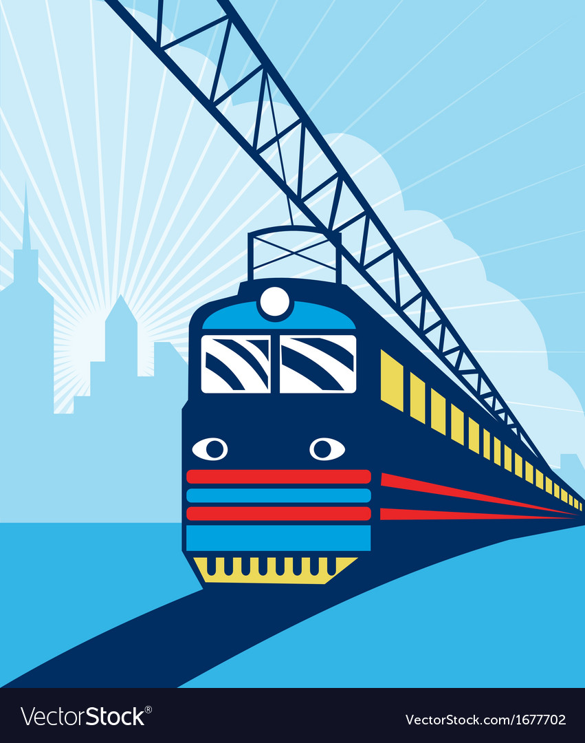 Electric passenger train city skyline vector | Price: 1 Credit (USD $1)