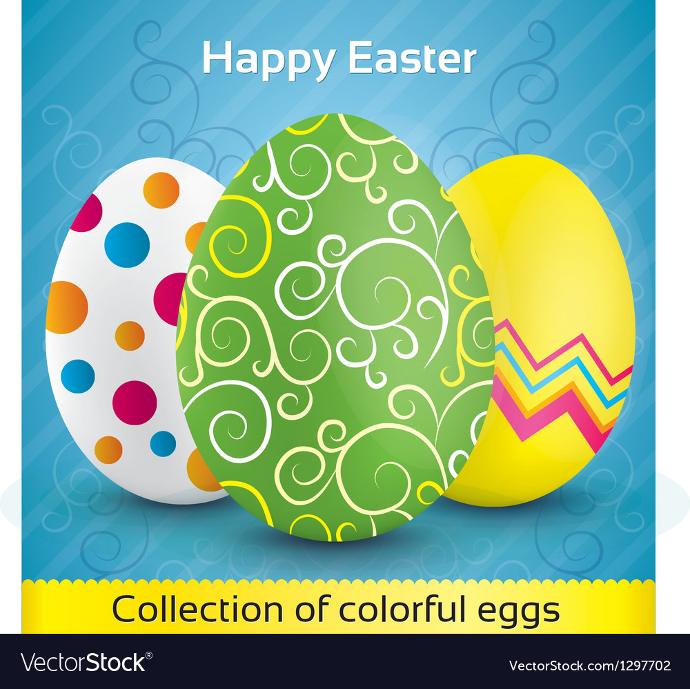 Greeting card with colorful textured eggs vector | Price: 1 Credit (USD $1)