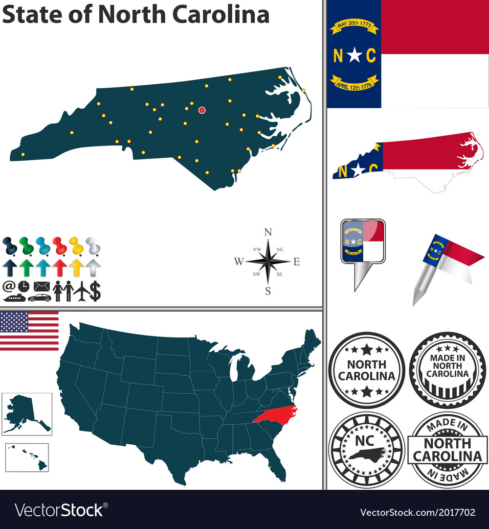 Map of north carolina vector | Price: 1 Credit (USD $1)