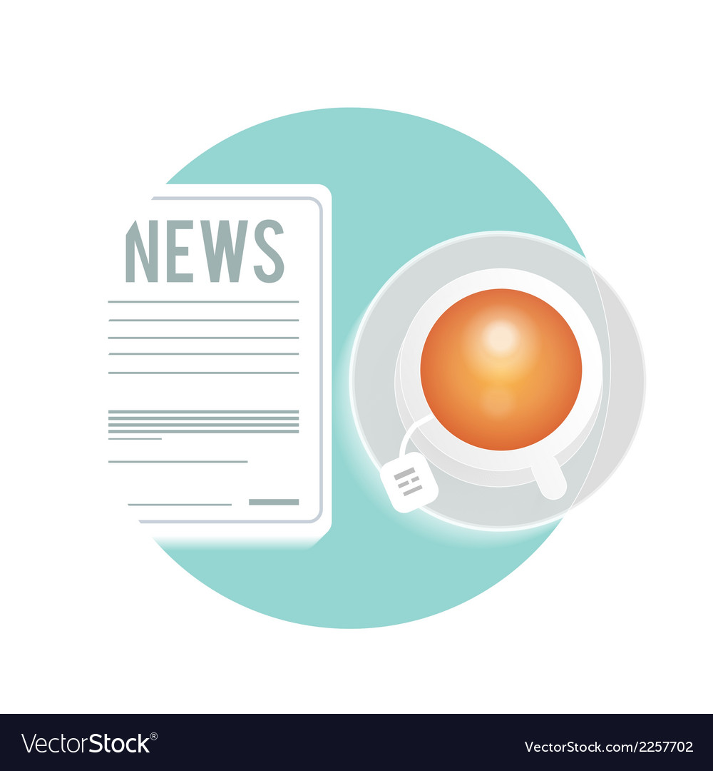 Newspaper with a cup of tea coffee on a table vector | Price: 1 Credit (USD $1)