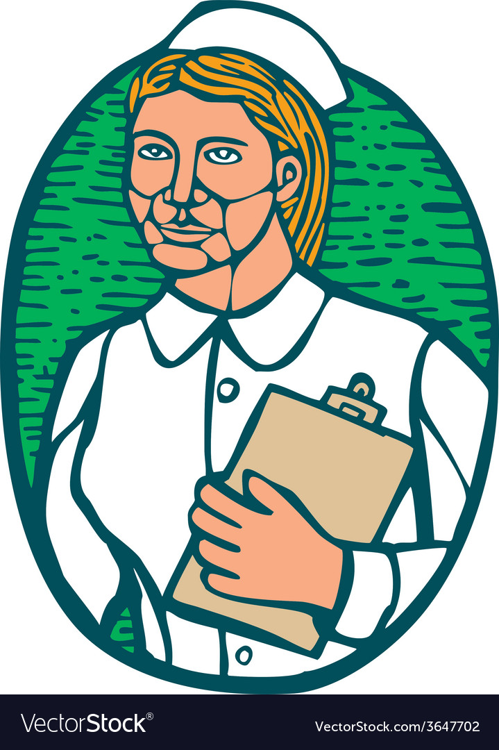 Nurse holding clipboard oval woodcut linocut vector | Price: 1 Credit (USD $1)