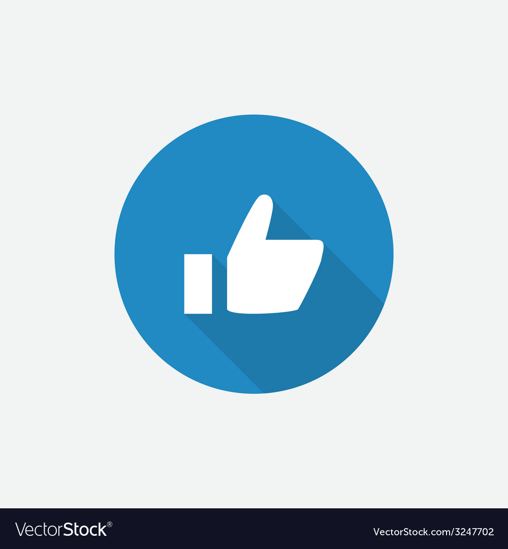 Ok flat blue simple icon with long shadow vector | Price: 1 Credit (USD $1)