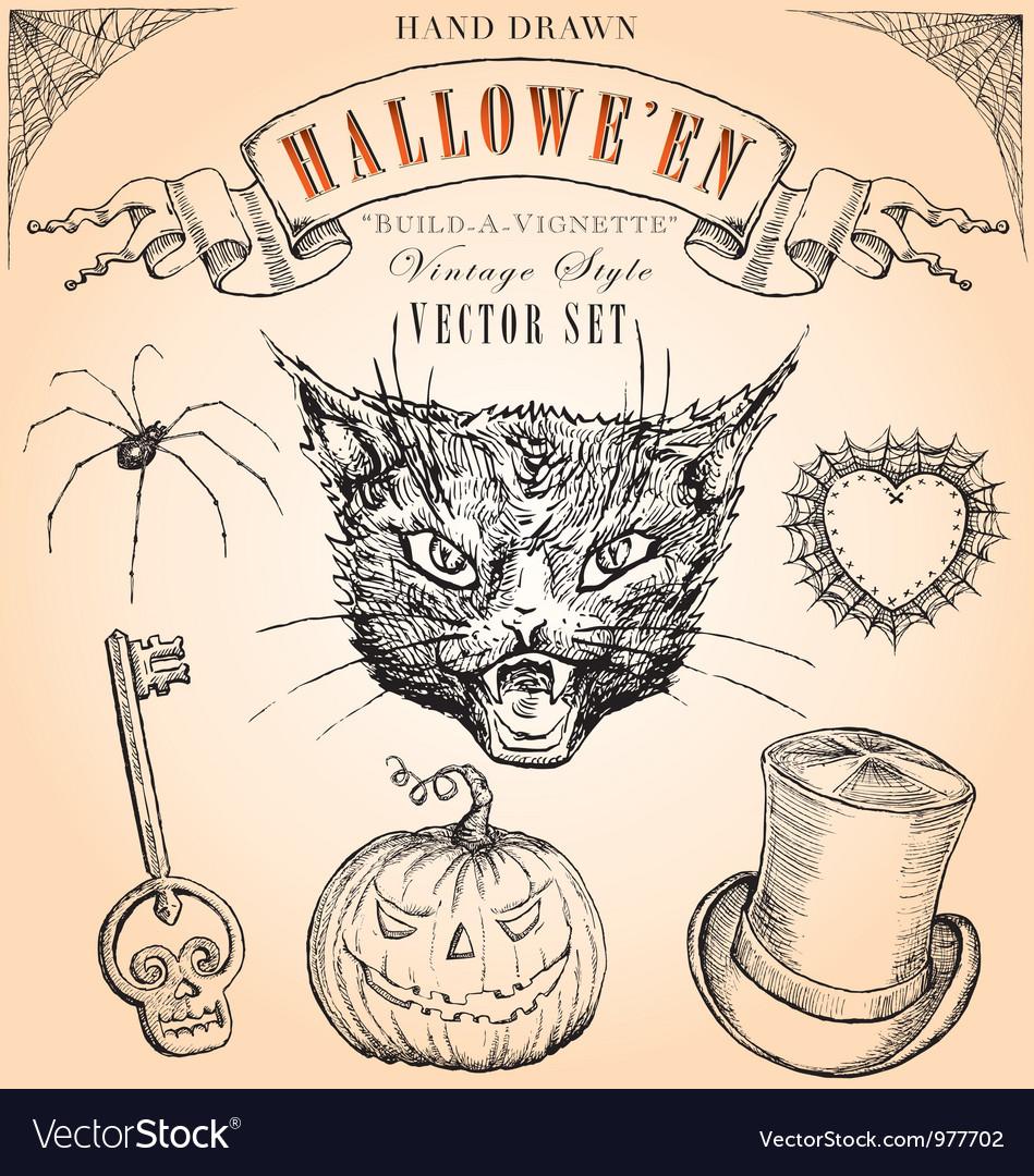 Vintage halloween set vector | Price: 1 Credit (USD $1)