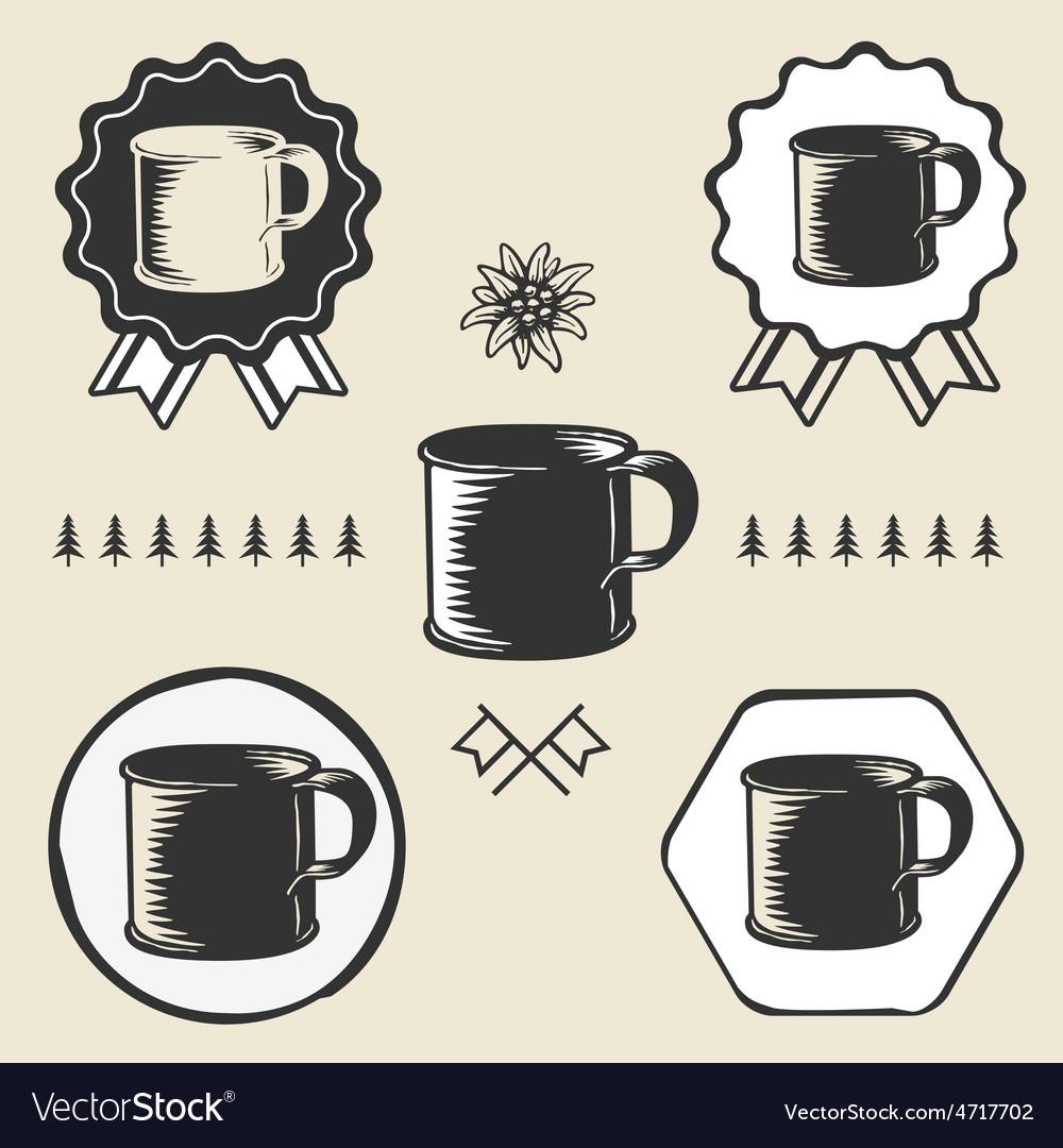 Vintage steel enamel cup outdoor symbol emblem vector   Price: 1 Credit (USD $1)