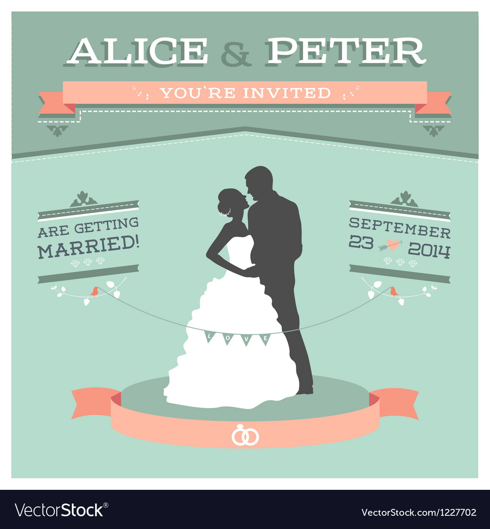 Wedding invitation 2 s vector