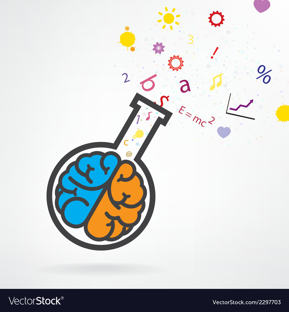 Brain and test tube sign vector | Price: 1 Credit (USD $1)