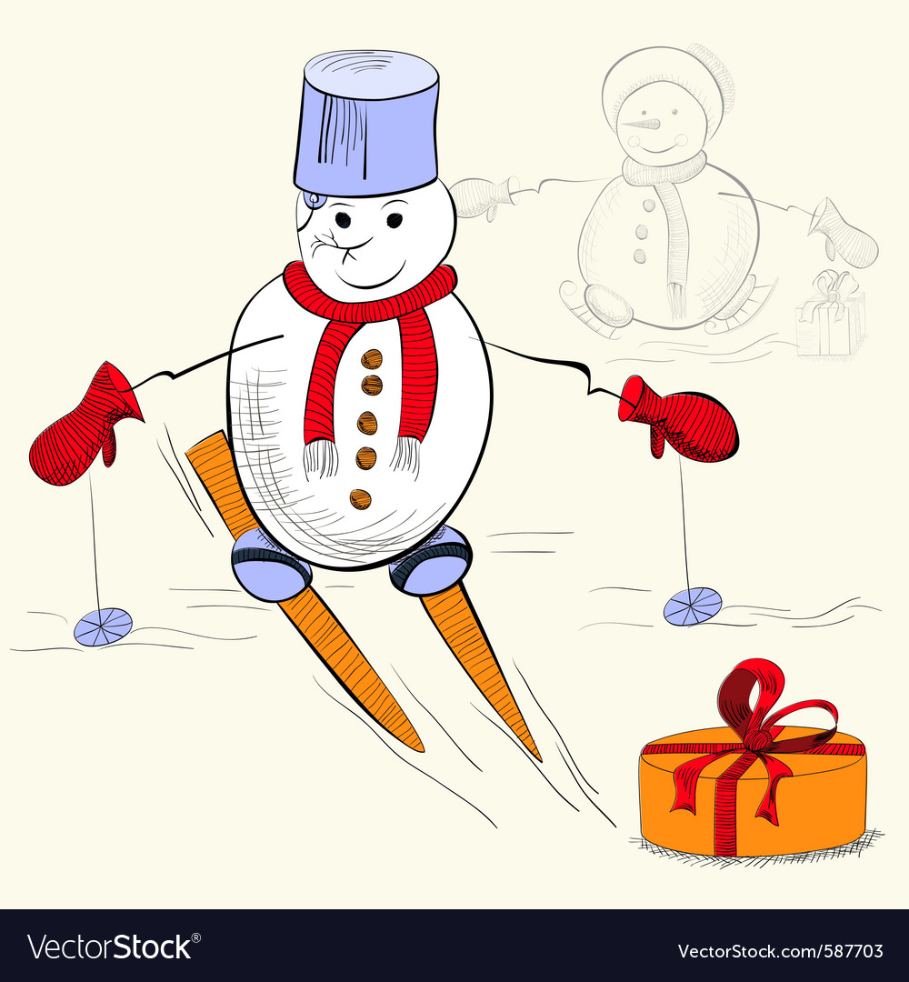 Card with snowman vector | Price: 1 Credit (USD $1)