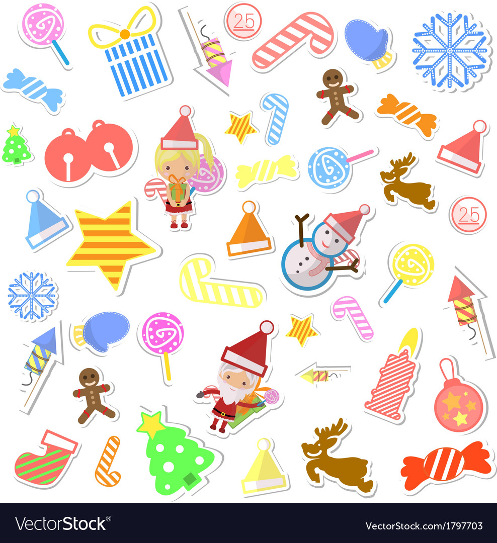 Christmas background with set of icons vector | Price: 1 Credit (USD $1)