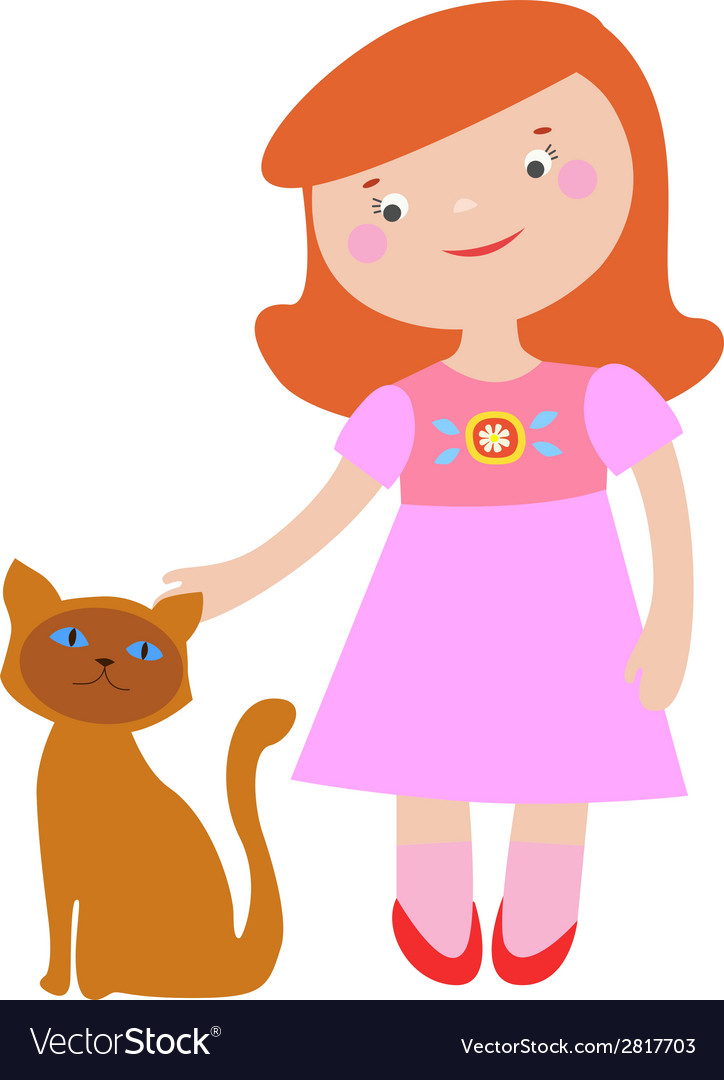 Cute girl and cat vector | Price: 1 Credit (USD $1)