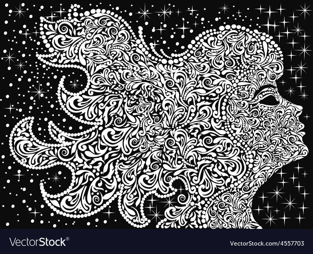 Girls face floral ornament with developing hair vector | Price: 1 Credit (USD $1)