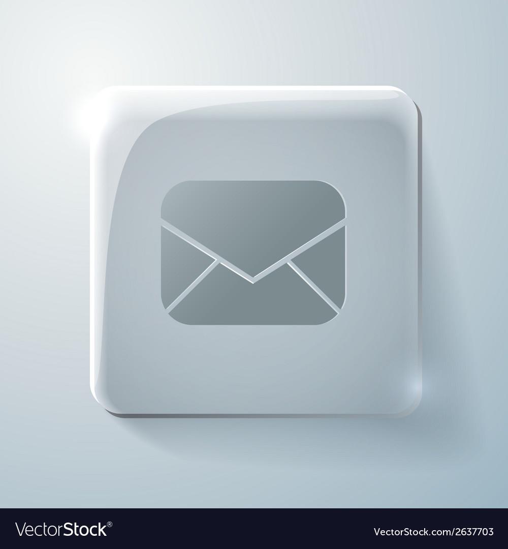Glass square icon postal envelope vector | Price: 1 Credit (USD $1)