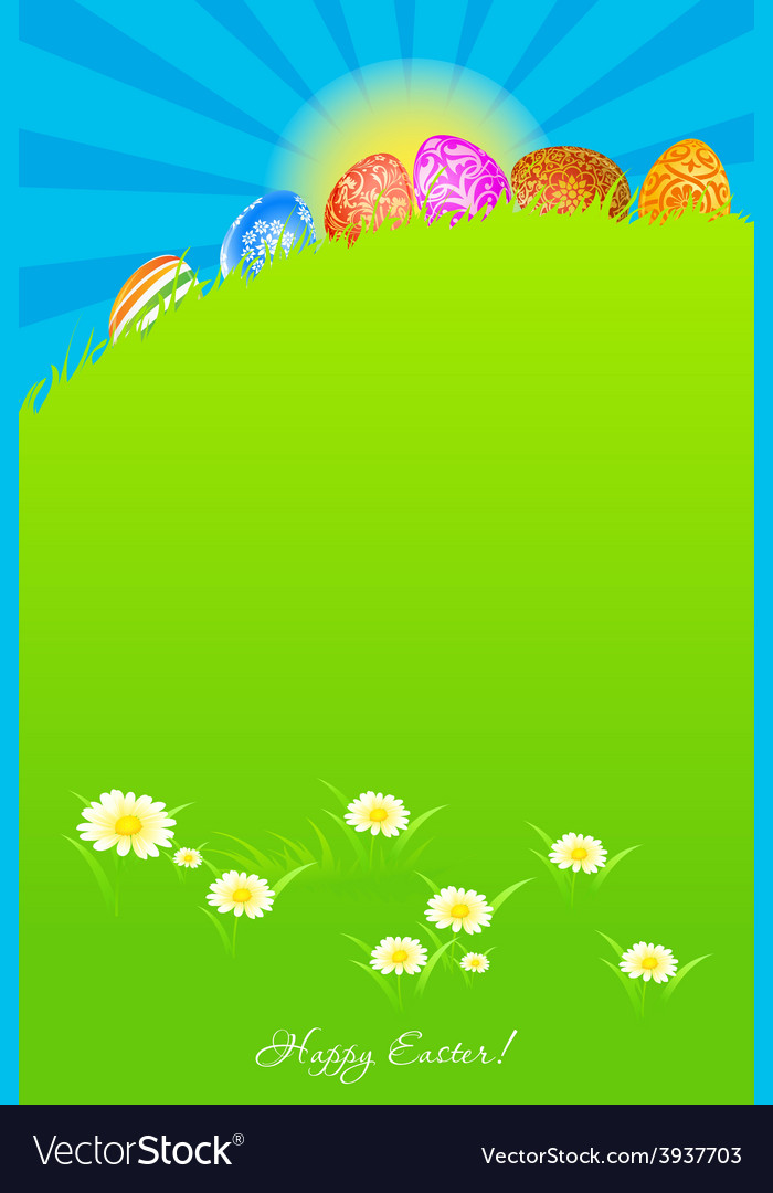 Green landscape background with easter eggs vector | Price: 3 Credit (USD $3)