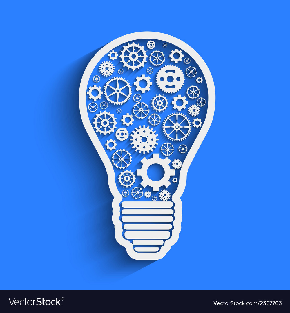 Light paper bulb with gears vector | Price: 1 Credit (USD $1)