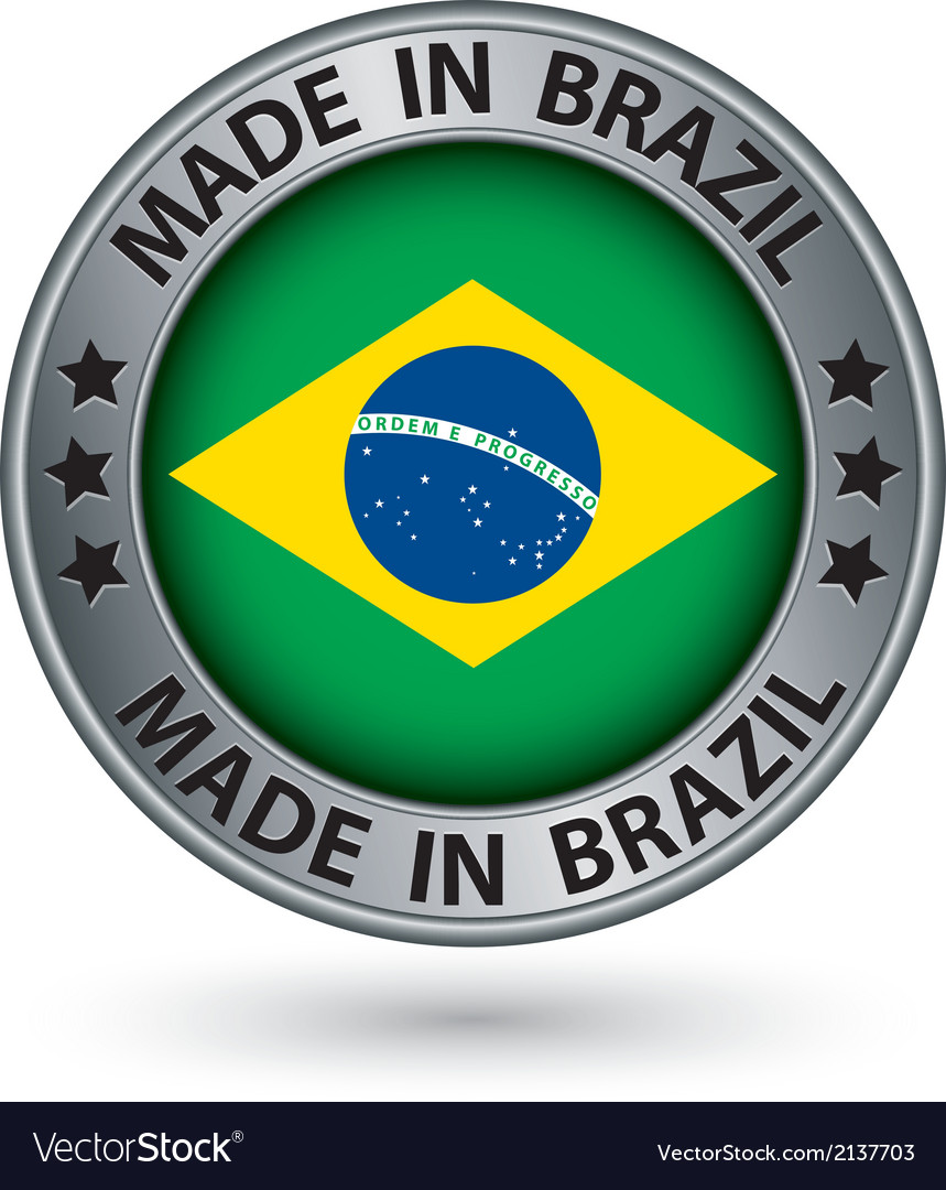 Made in brazil silver label with flag vector | Price: 1 Credit (USD $1)