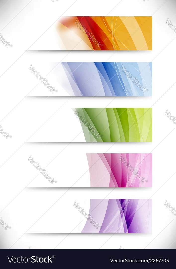 Modern swoosh wave bright cards set vector | Price: 1 Credit (USD $1)