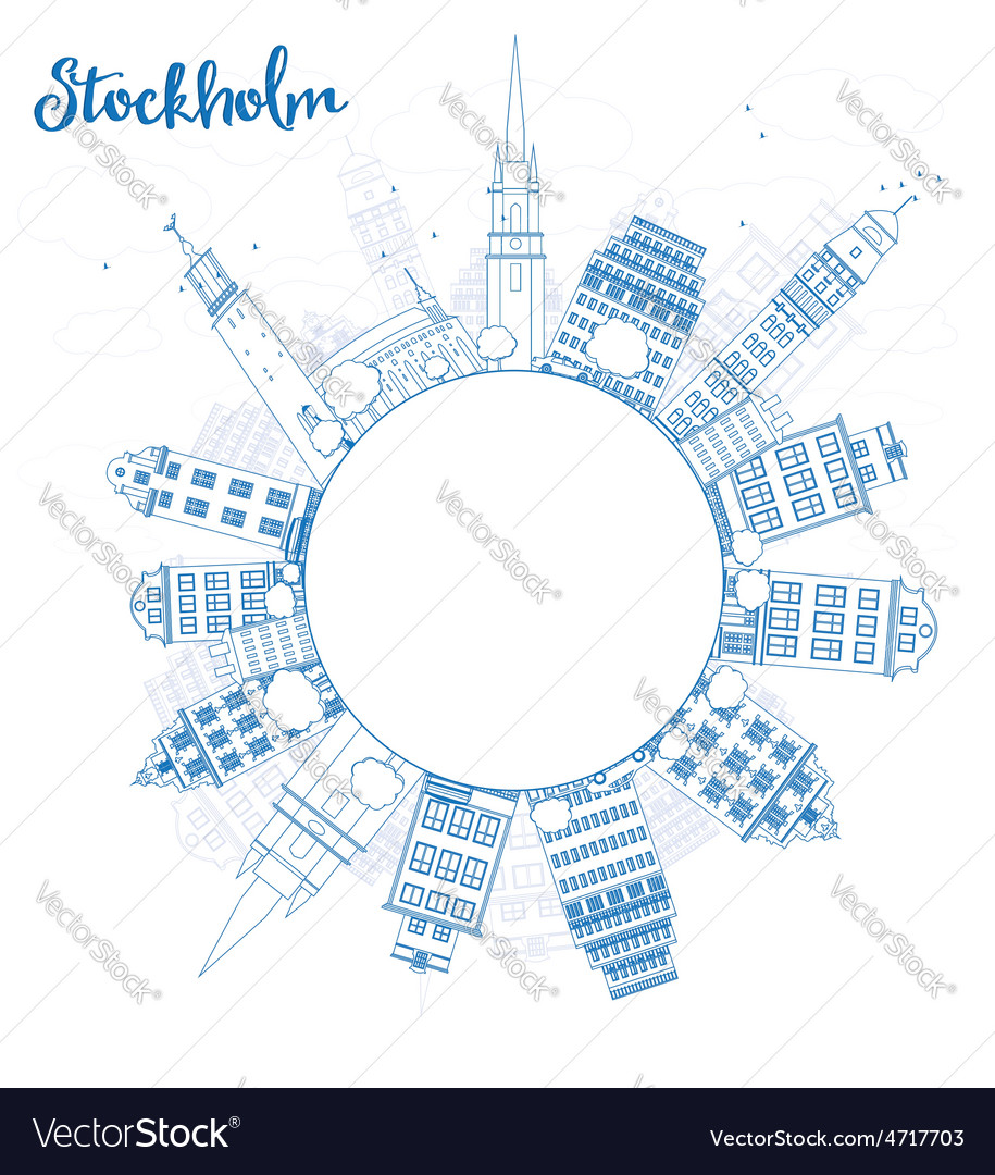 Outline stockholm skyline with blue buildings vector | Price: 1 Credit (USD $1)