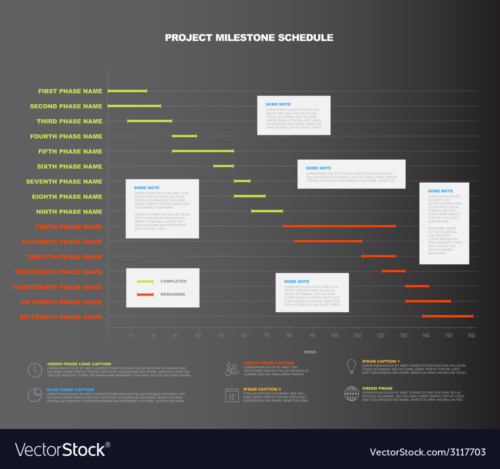 Project timeline graph - gantt progress chart vector | Price: 1 Credit (USD $1)
