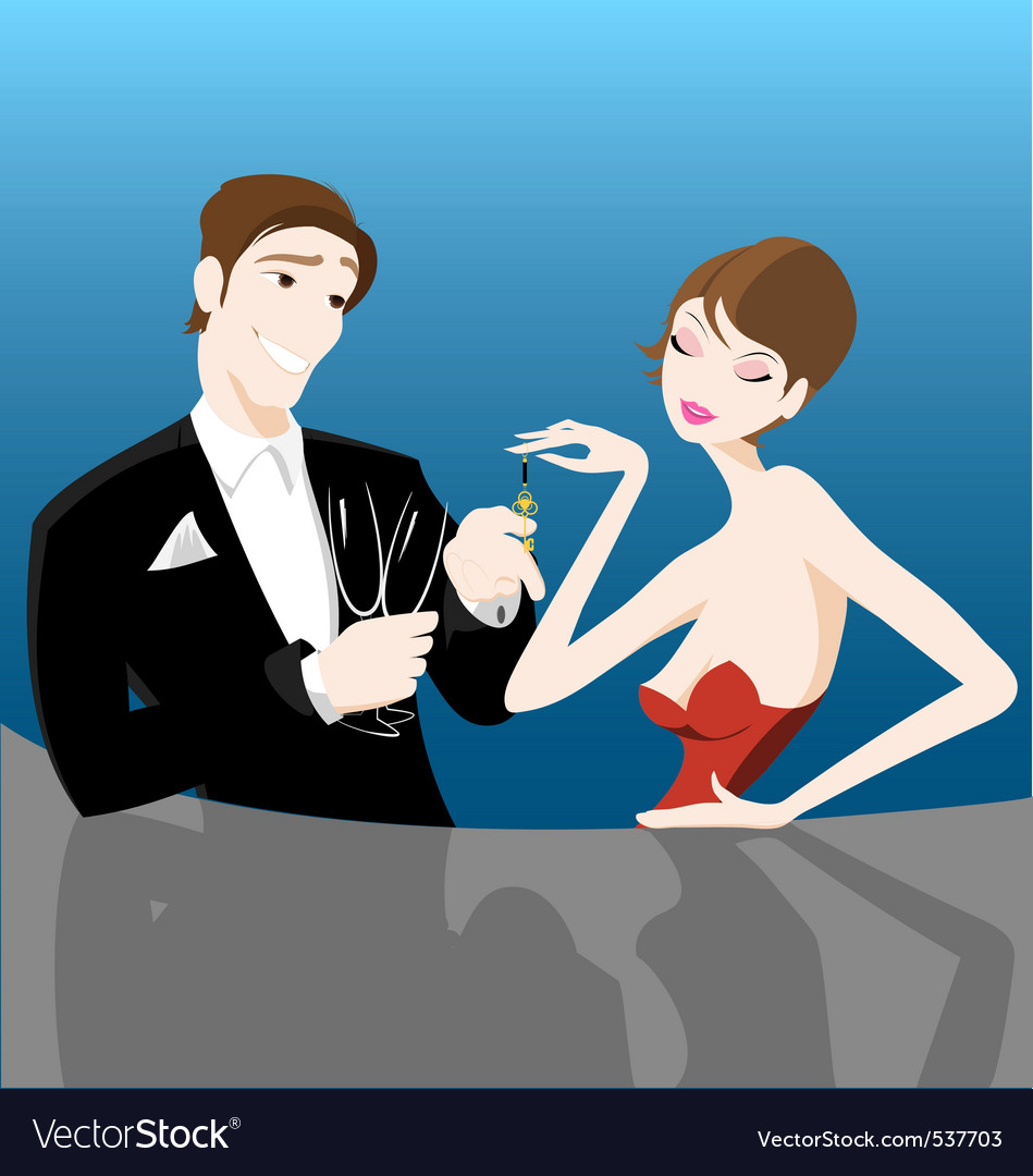 Romantic couple flirting vector | Price: 1 Credit (USD $1)