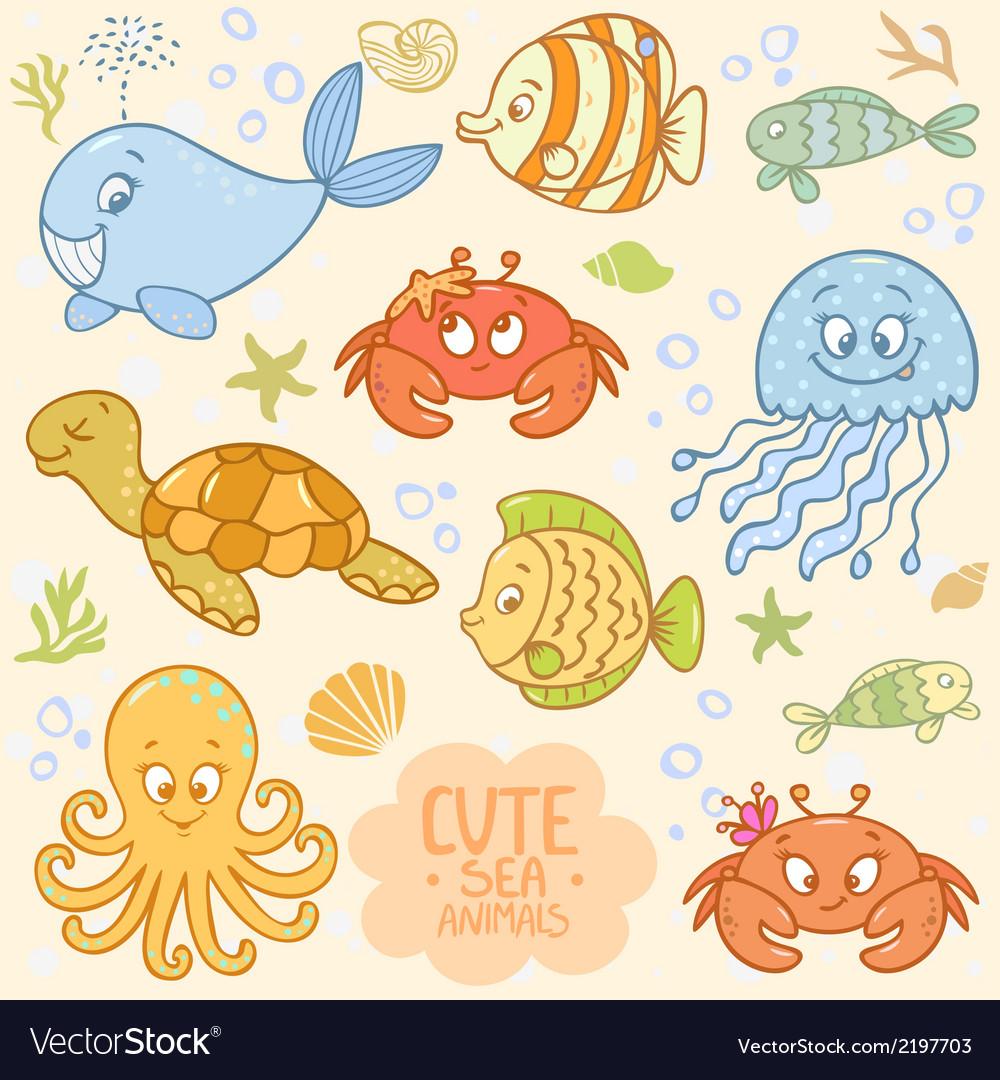 Sea set animals vector | Price: 1 Credit (USD $1)
