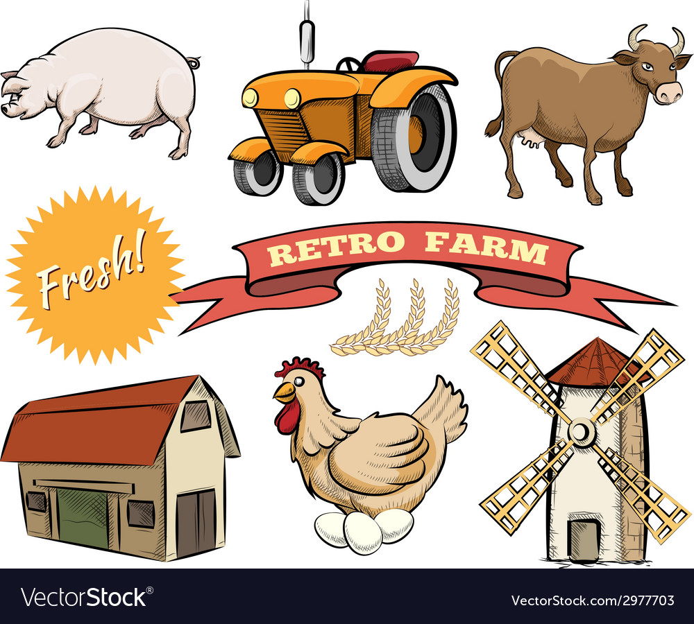 Set of retro farm icons vector | Price: 1 Credit (USD $1)