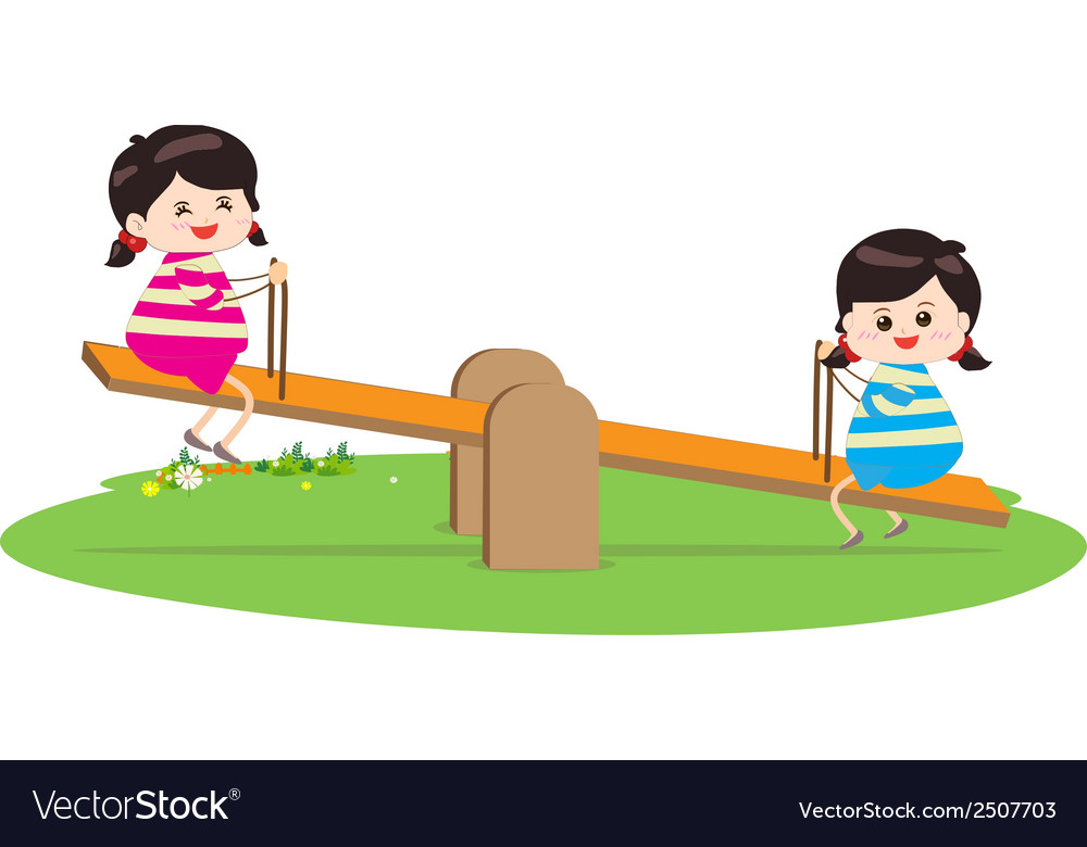 Two girl playing riding on seesaw vector | Price: 1 Credit (USD $1)