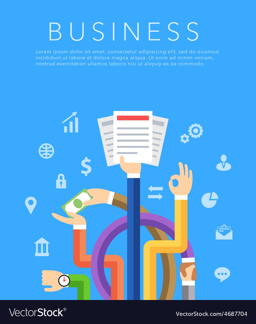 Business hands flat background vector | Price: 1 Credit (USD $1)