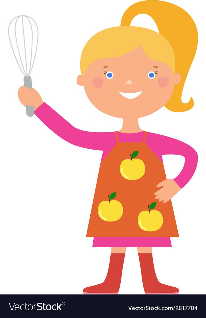 Cute girl cook character vector | Price: 1 Credit (USD $1)