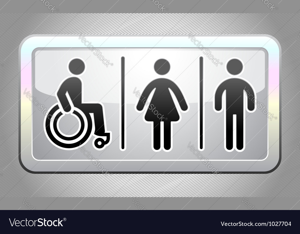 Restroom symbol button vector | Price: 1 Credit (USD $1)