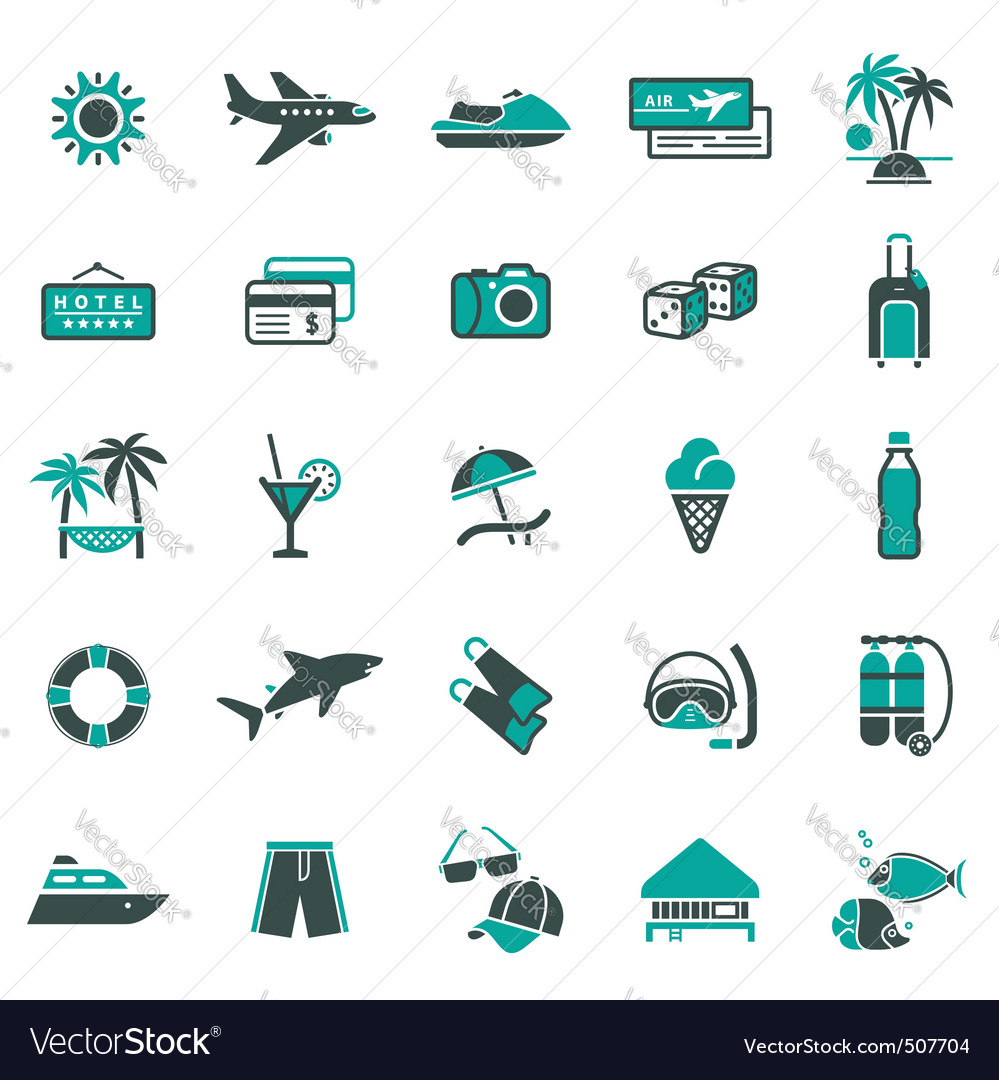 Signs vacation travel recreation first vector | Price: 1 Credit (USD $1)