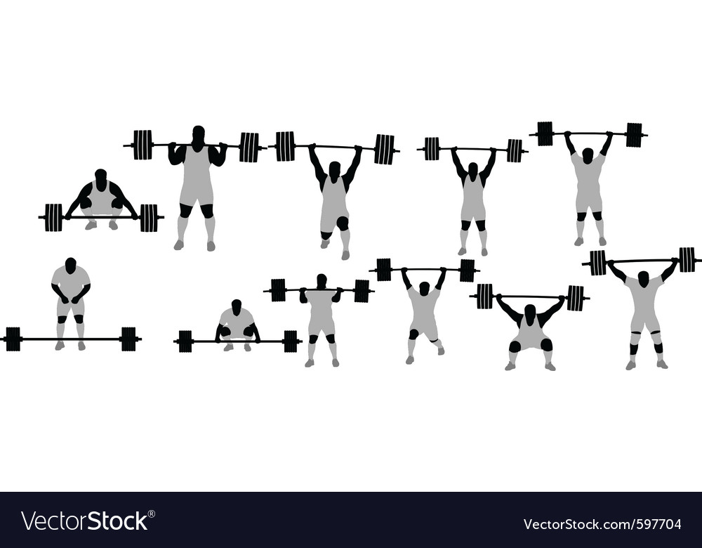 Silhouette of weightlifter vector | Price: 1 Credit (USD $1)
