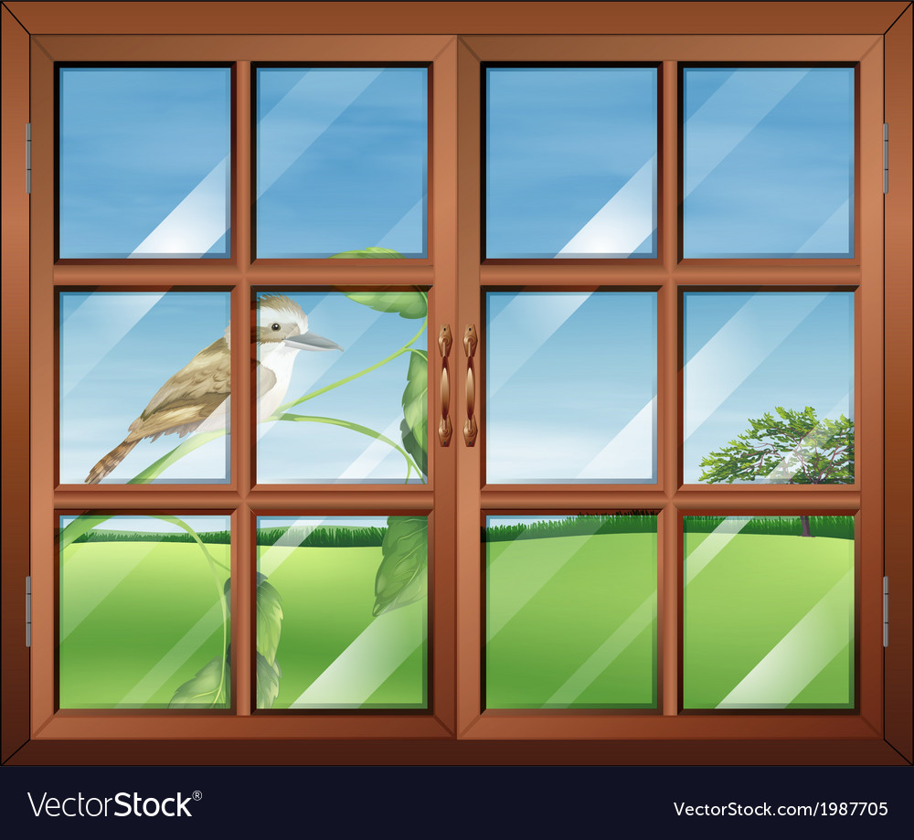 A closed window with a bird outside vector | Price: 1 Credit (USD $1)