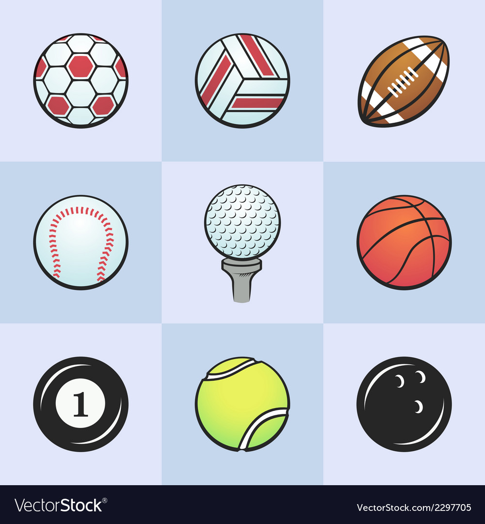 Colored sport balls vector | Price: 1 Credit (USD $1)