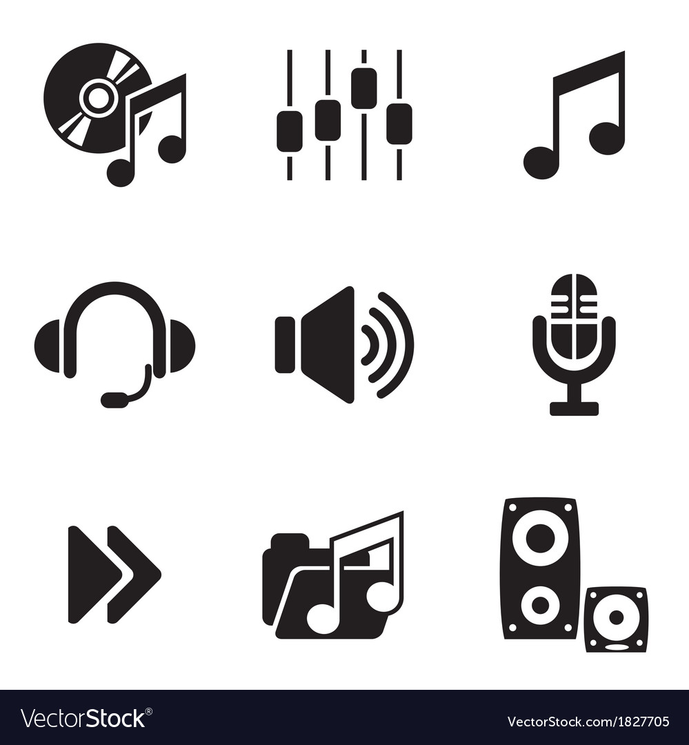Computer audio icons vector | Price: 1 Credit (USD $1)