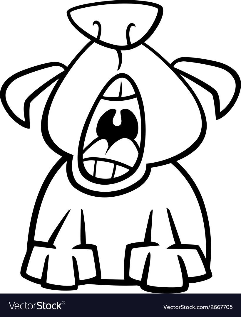 Dog yawn cartoon coloring page vector | Price: 1 Credit (USD $1)