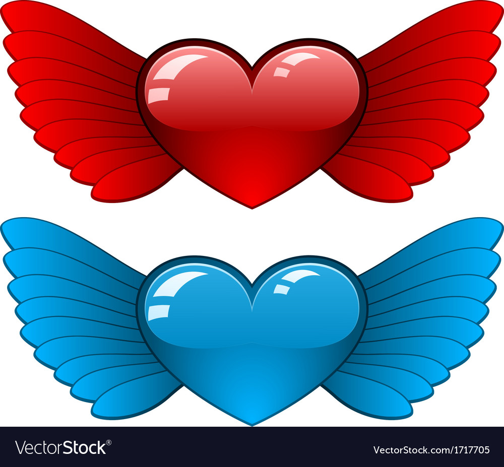 Hearts with wings vector | Price: 1 Credit (USD $1)