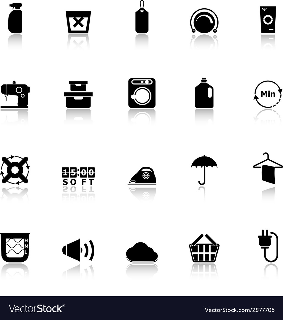 Laundry icons with reflect on white background vector | Price: 1 Credit (USD $1)