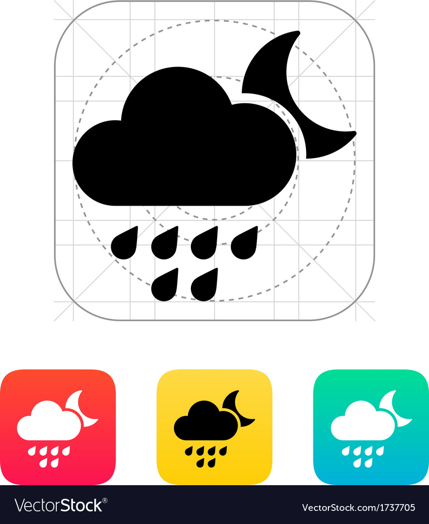 Light rain at night weather icon vector | Price: 1 Credit (USD $1)