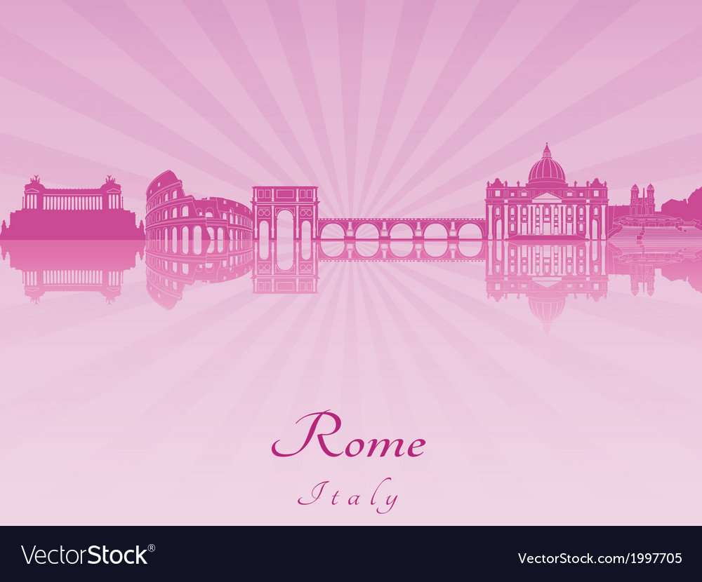 Rome skyline in purple radiant orchid vector | Price: 1 Credit (USD $1)