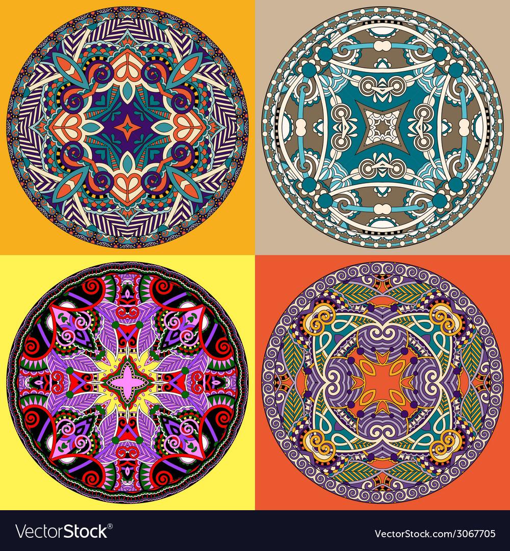 Set decorative design of circle dish template vector | Price: 1 Credit (USD $1)