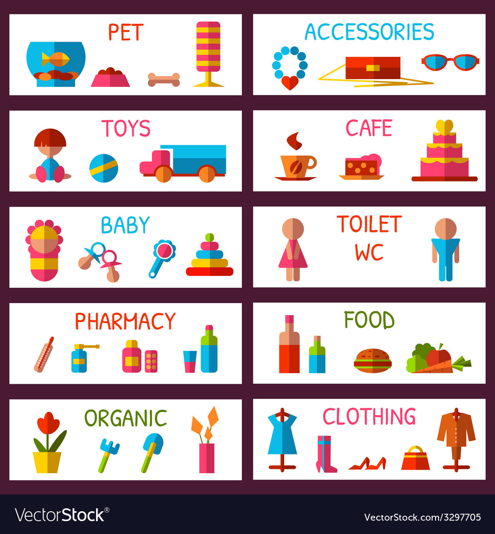 Set of market signages in flat style vector | Price: 1 Credit (USD $1)