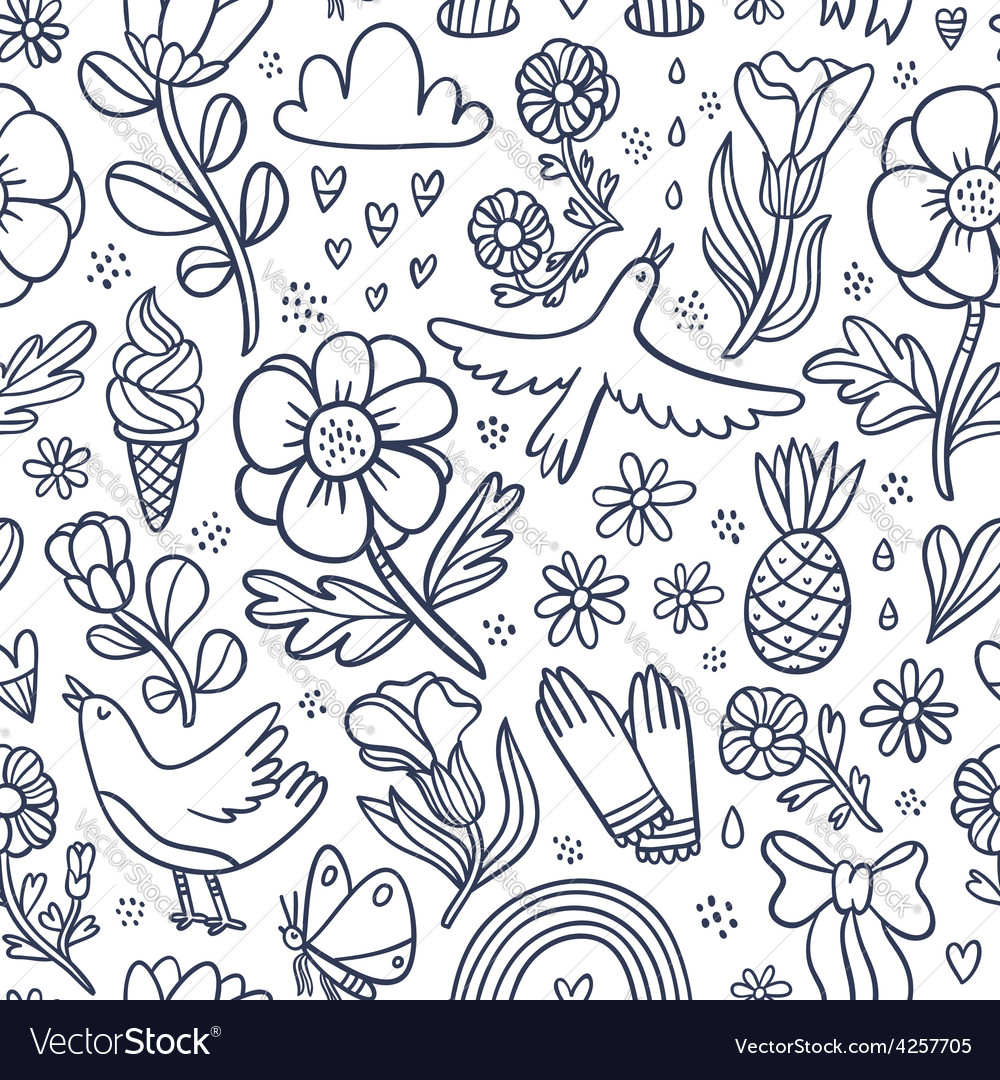 Summertime black floral seamless pattern vector | Price: 1 Credit (USD $1)